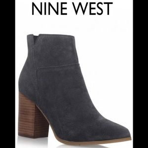 Nine West Keke Pointed Toe Suede Blue Ankle Boot